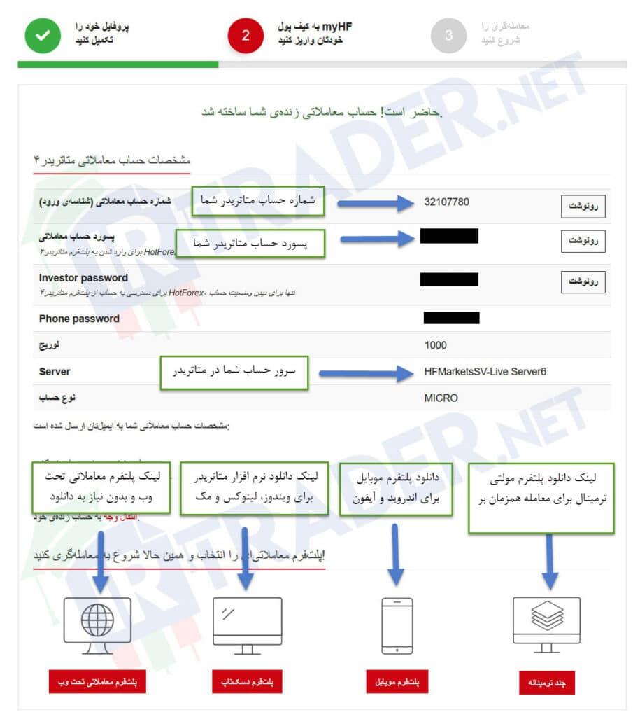 مشخصات حساب معاملاتی بروکر هات فارکس