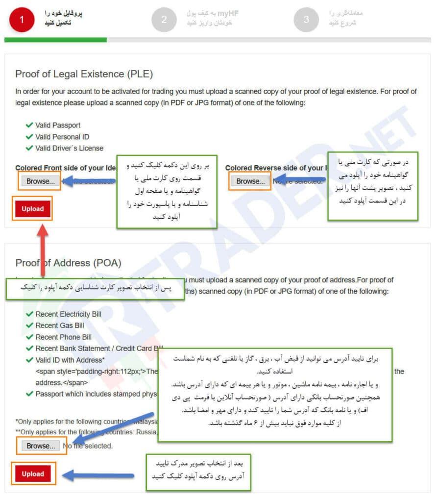 احراز هویت - ثبت نام در هات فارکس