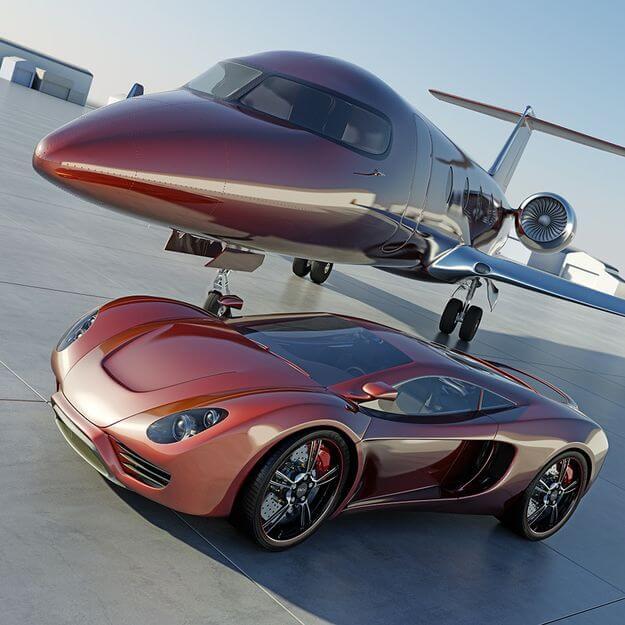 هواپیمای جت و ماشین یک تریدر موفق