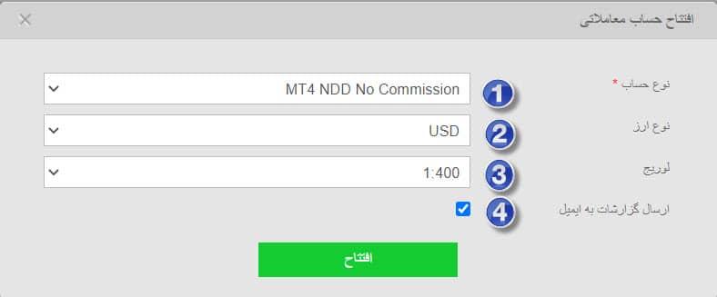 فرم افتتاح حساب معاملاتی در فیبوگروپ